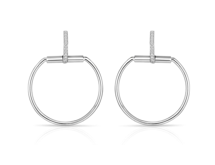 Roberto Coin Classica Parisienne Collection round brilliant cut diamond earrings in 18k white gold.