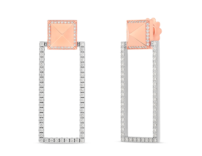 Roberto Coin Obelisco Collection round brilliant cut diamond earrings in 18k rose and white gold.