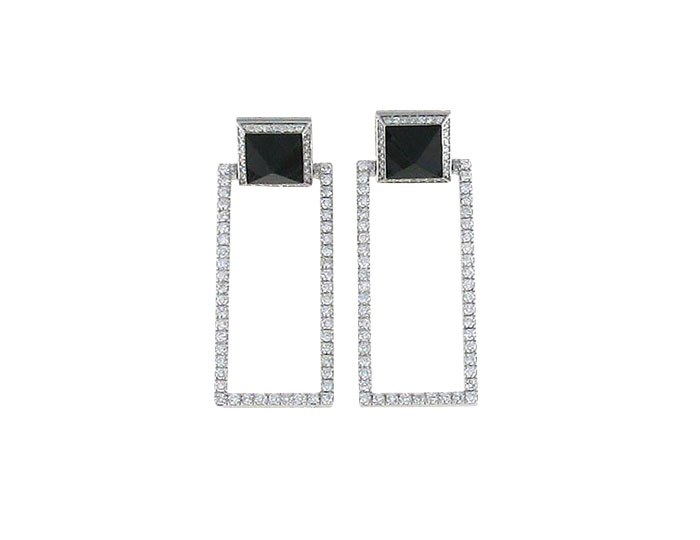 Roberto Coin Obelisco collection diamond and jade dangle earrings in 18k white gold.