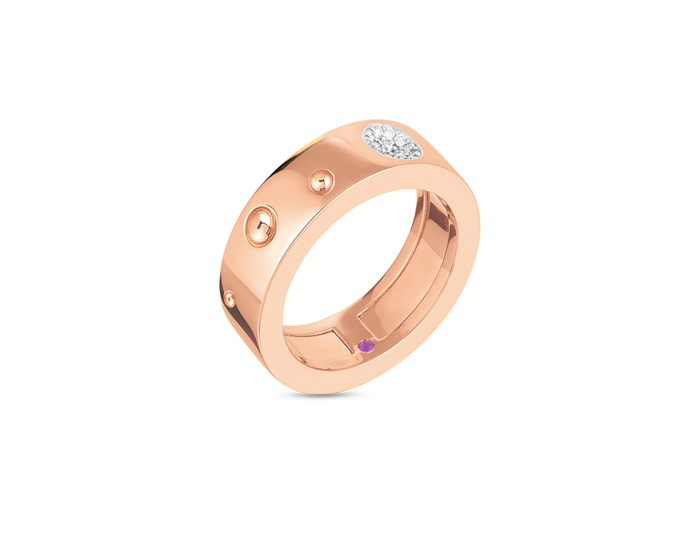 Roberto Coin Luna collection round brilliant cut diamond band in 18k rose gold.