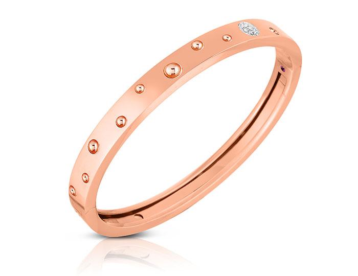 Roberto Coin Pois Moi Luna collection diamond bracelet in 18k rose gold.