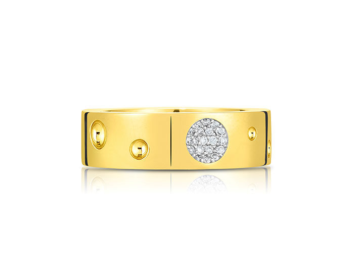Roberto Coin Pois Moi Luna collection diamond band in 18k yellow gold.