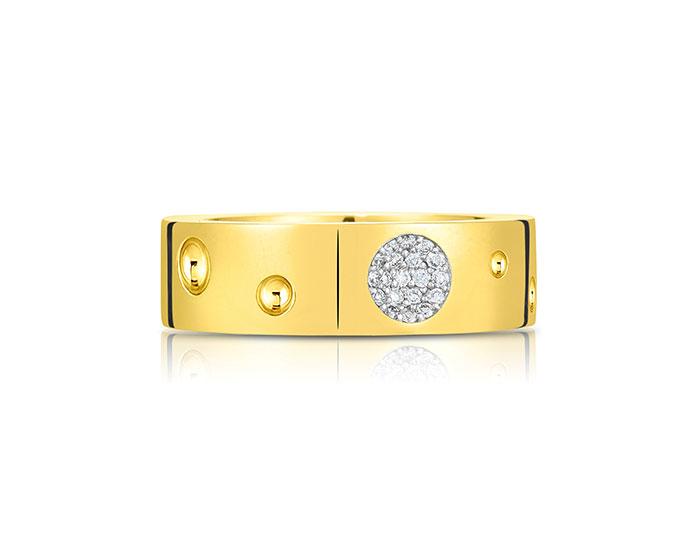 Roberto Coin Pois Moi Luna collection diamond band in 18k yellow gold.