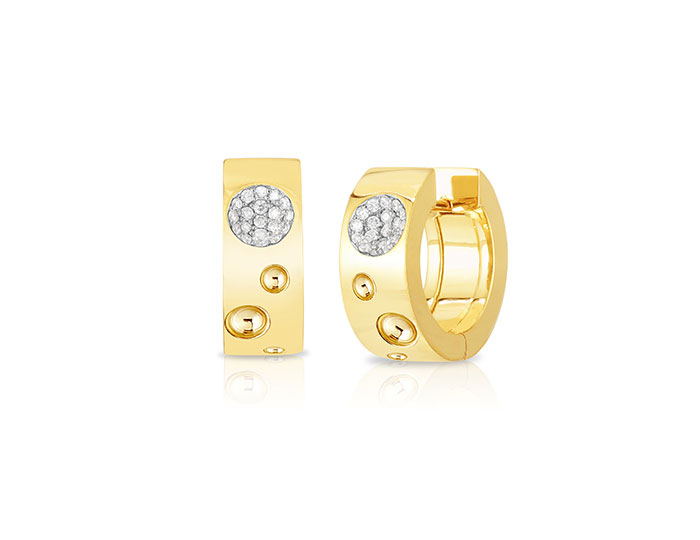 Roberto Coin Pois Moi Luna collection diamond hoop earrings in 18k yellow gold.