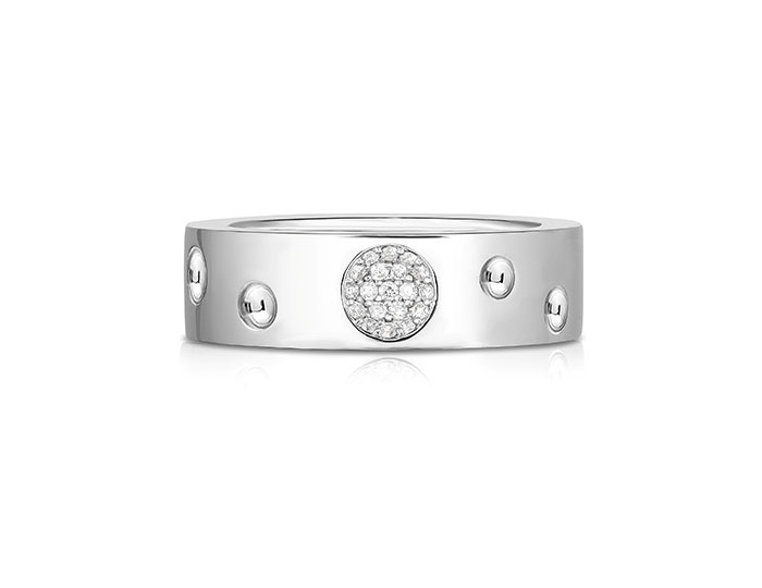 Roberto Coin Pois Moi Luna collection diamond band in 18k white gold.