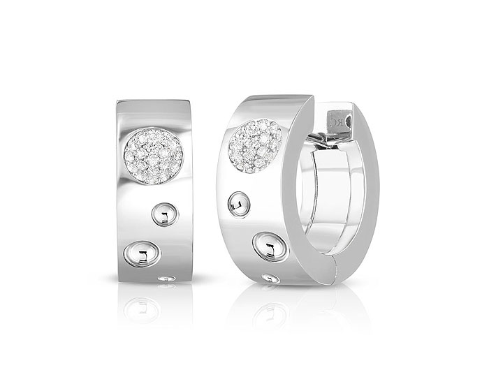 Roberto Coin Luna collection round brillaint cut diamond earrings in 18k white gold.