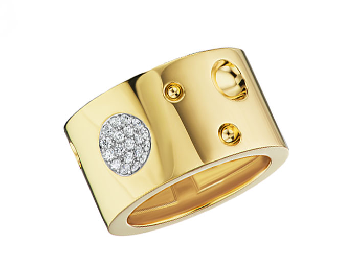 Roberto Coin Luna collection round brilliant cut diamond wide band in 18k yellow gold.
