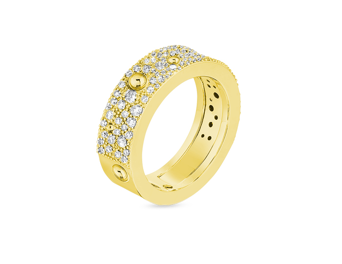 Roberto Coin Luna collection diamond ring in 18k yellow gold.