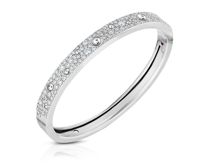 Roberto Coin Pois Moi Luna collection diamond bracelet in 18k white gold.