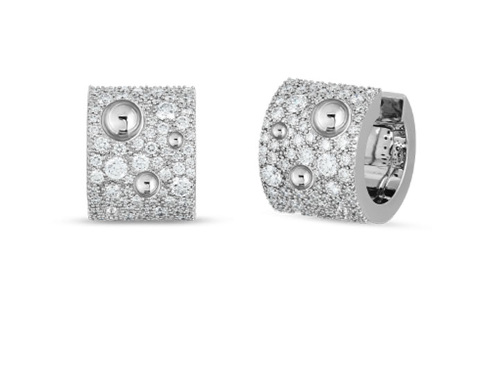 Roberto Coin Luna collection round brilliant cut diamond hoops in 18k white gold.