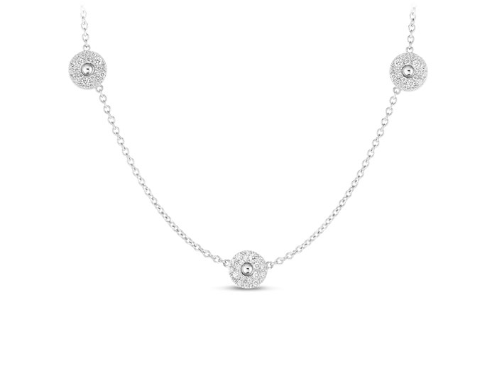 Roberto Coin Pois Moi collection round brilliant cut diamond bezel necklace in 18k white gold.