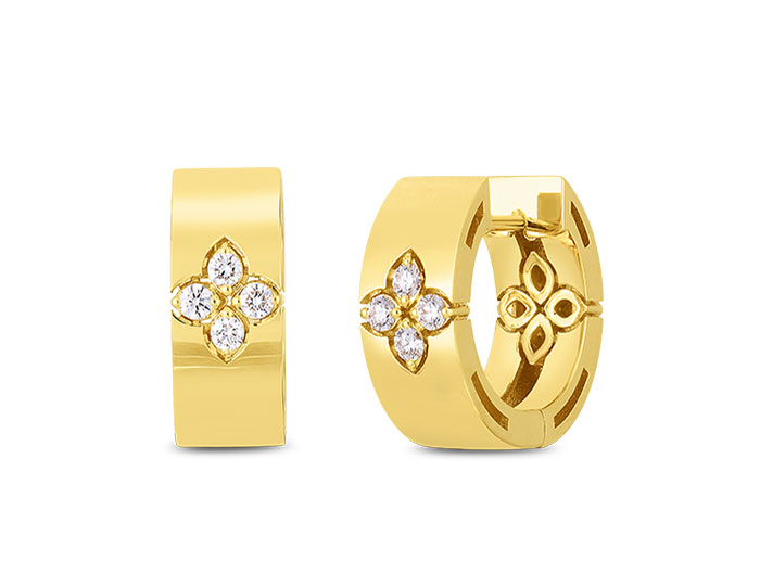 Roberto Coin Verona collection round brilliant cut diamond hoop earrings in 18k yellow gold.