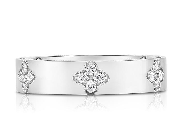 Roberto Coin Verona collection round brilliant cut diamond band in 18k white gold.