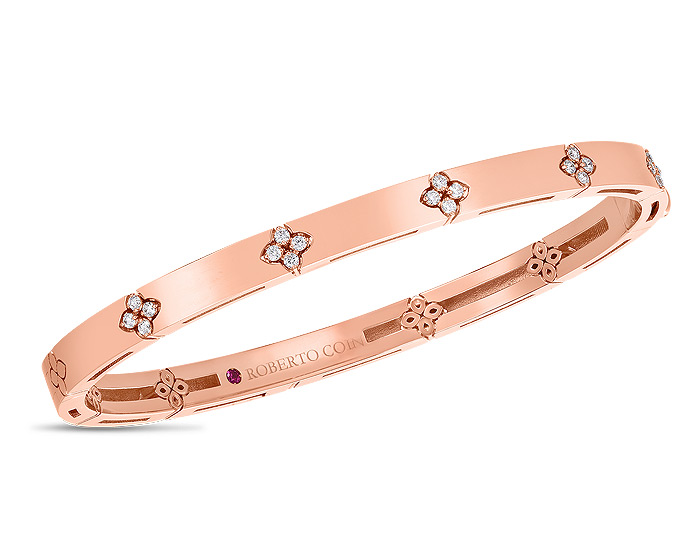 Roberto Coin Verona collection round brilliant cut diamond bracelet in 18k rose gold.