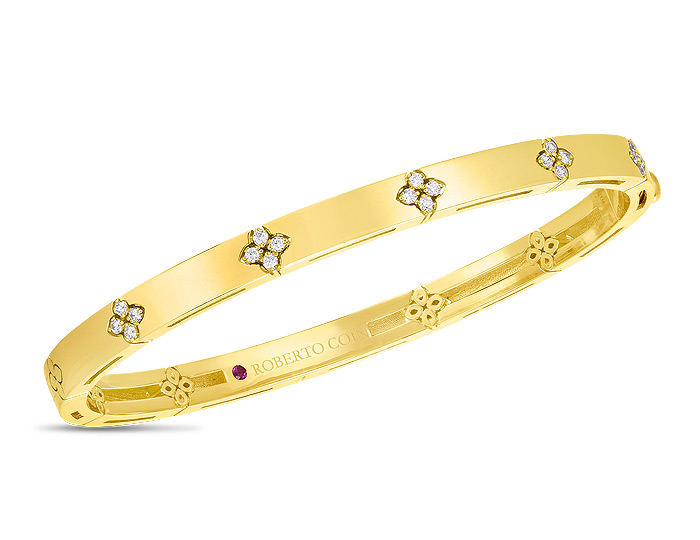 Roberto Coin Verona collection round brilliant cut diamond bracelet in 18k yellow gold.