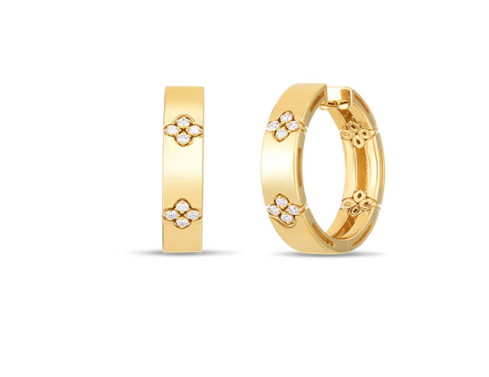 Roberto Coin Verona Collection round brilliant cut diamond earrings in 18k yellow gold.