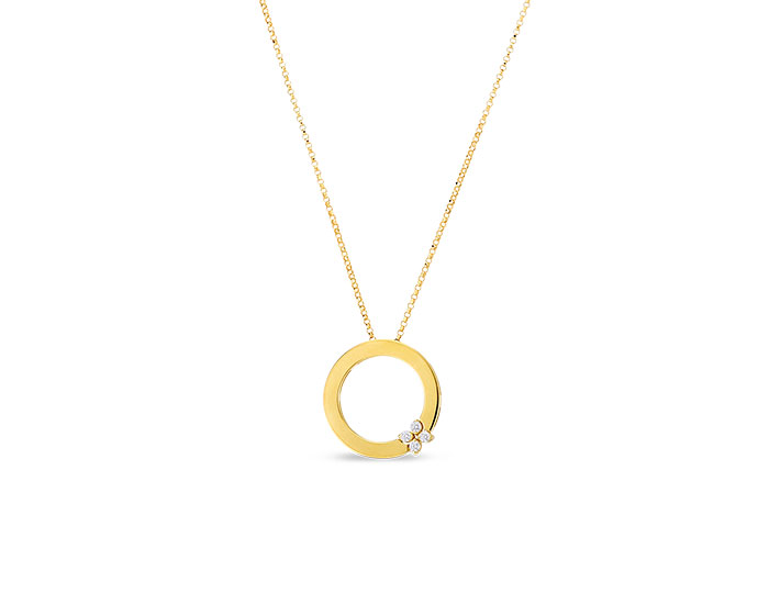 Roberto Coin Verona collection round brilliant cut diamond pendant in 18k yellow gold.