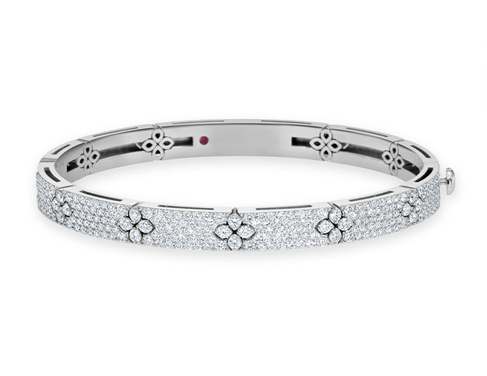 Roberto Coin Verona Collection round brilliant cut bangle bracelet in 18k white gold.