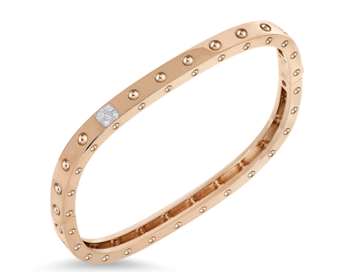 Roberto Coin Pois Moi Collection round brilliant cut diamond bracelet in 18k rose gold.