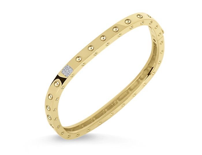 Roberto Coin Pois Moi Collection round brilliant cut diamond bracelet in 18k yellow gold.
