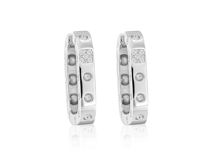 Roberto Coin Pois Moi Collection round brilliant cut diamond earrings in 18k white gold.