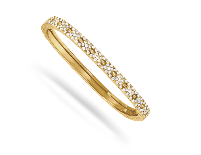 Roberto Coin Pois Moi Collection round brilliant cut diamond pavé bracelet in 18k yellow gold.