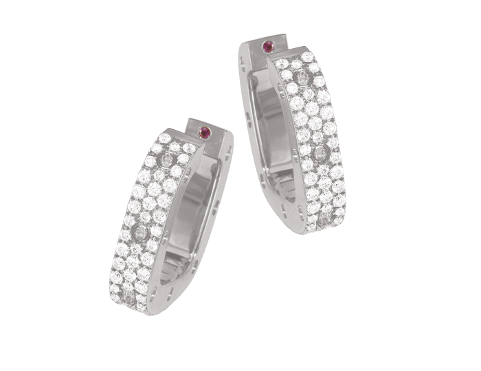 Roberto Coin Pois Mois Collection round brilliant cut diamond pavé earrings in 18k white gold.