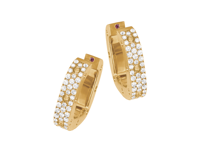 Roberto Coin Pois Moi Collection round brilliant cut diamond pavé earrings in 18k yellow gold.