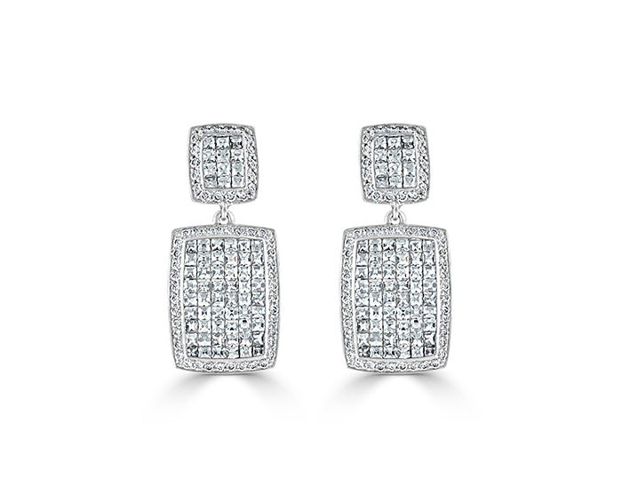 Bez Ambar blaze and round brilliant cut diamond earrings in 18k white gold.