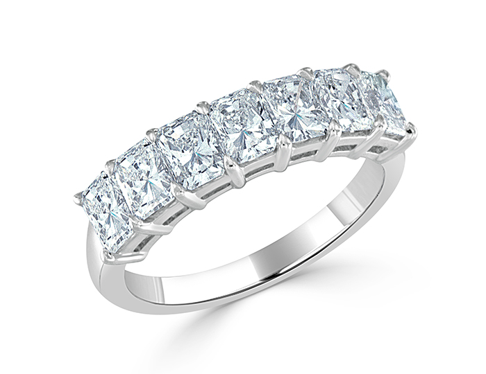 Radiant cut diamond wedding band in platinum.