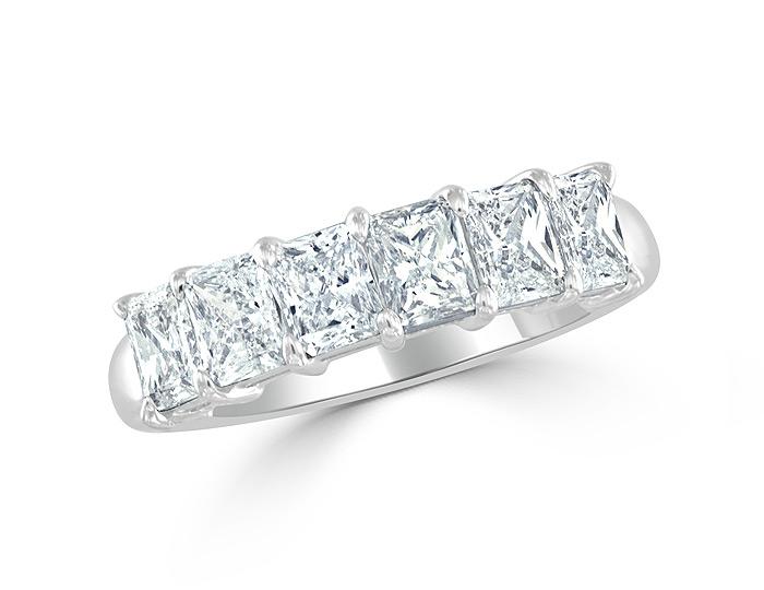 Radiant cut diamond ring in platinum.