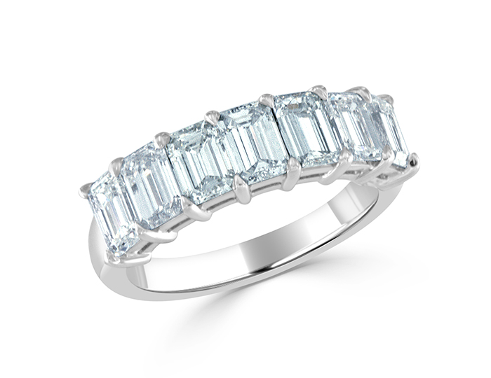 Emerald cut diamond wedding band in platinum.