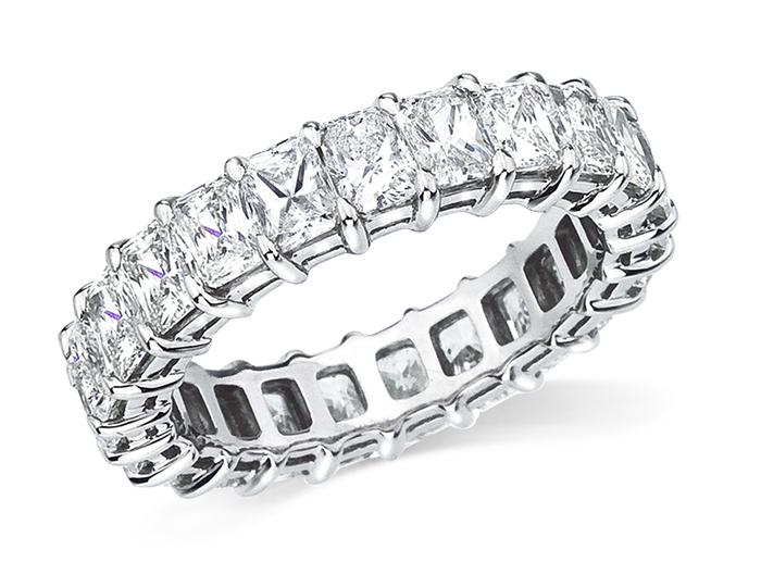 Radiant diamond band in platinum.