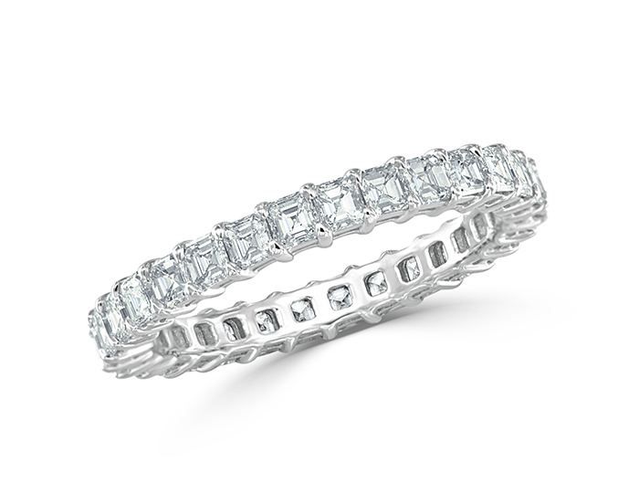 Asscher cut diamond band in platinum.