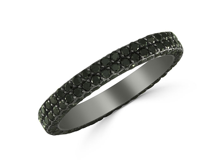 Bez Ambar round brilliant cut black diamond eternity band in 18k white gold with black rhodium.