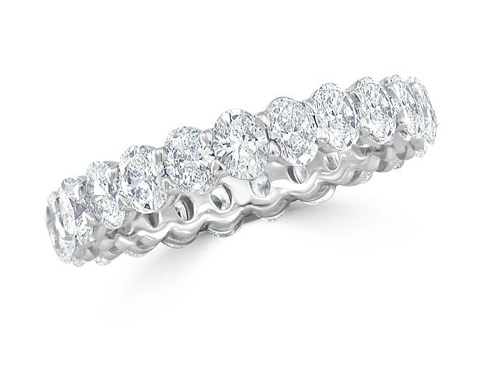 Oval cut diamond eternity band in platinum.