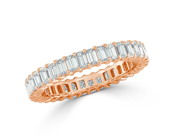 Emerald cut diamond band in 18k rose gold.
