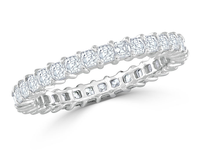 Asscher cut diamond eternity band in platinum.