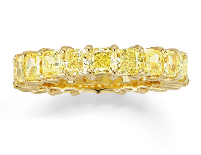Radiant cut diamond eternity band in 18k yellow gold.