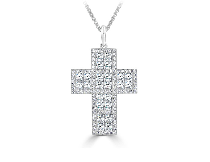 Blaze cut and round brilliant cut diamond cross pendant in 18k white gold.