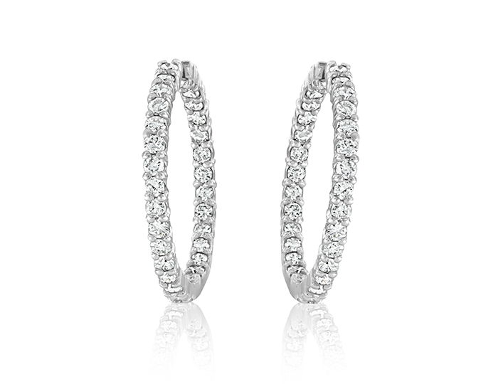 Round brilliant cut diamond hoops in 18k white gold.                                                            Available from $1,450 to $36,000.