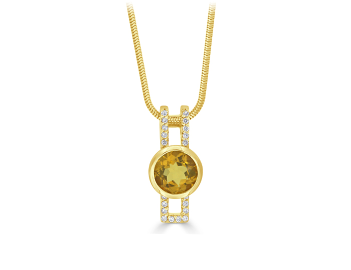 Citrine and round brilliant cut diamond pendant in 18k yellow gold.
