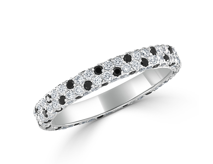 Bez Ambar round brilliant cut black and white diamond band in 18k white gold.