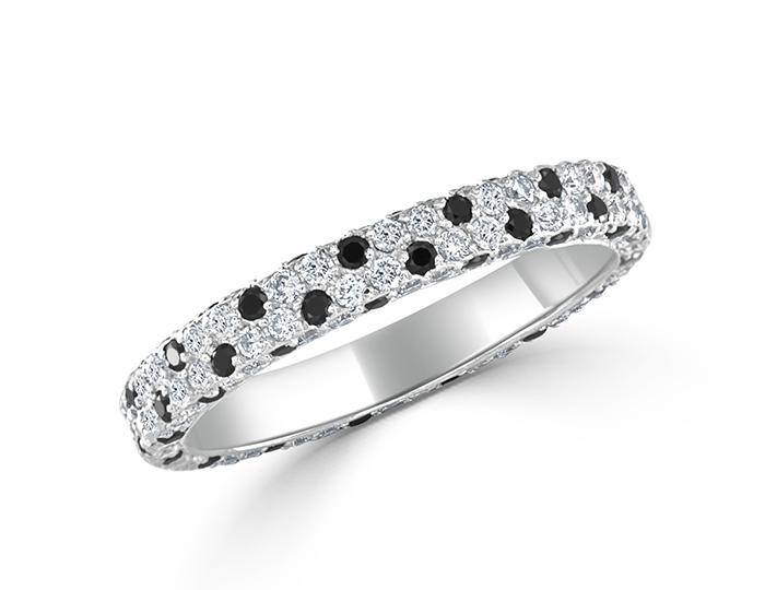 Bez Ambar round brilliant cut black and white diamond band in 18k white gold.