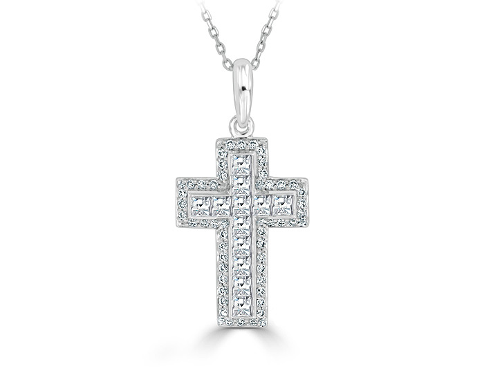 Blaze cut and round brilliant cut diamond cross pendant in 18k white gold.