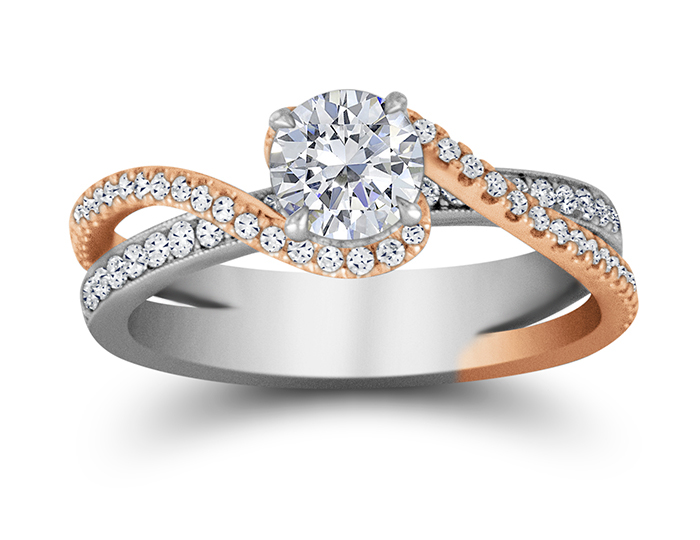Round brilliant cut diamond engagement ring in 18k rose and white gold.