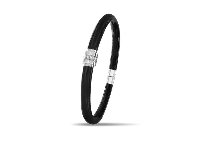 Soho black enamel and round brilliant cut diamond bangle bracelet in silver.