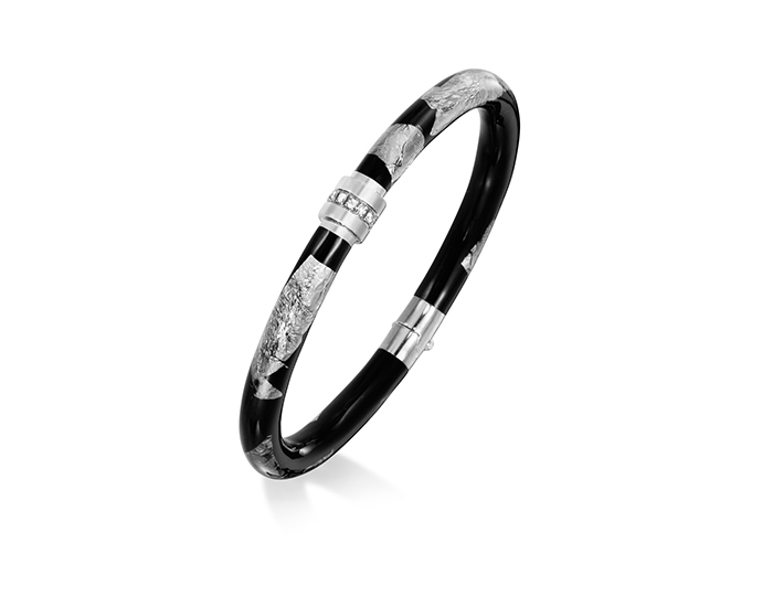 Soho black enamel and round brilliant cut diamond bangle bracelet in silver.