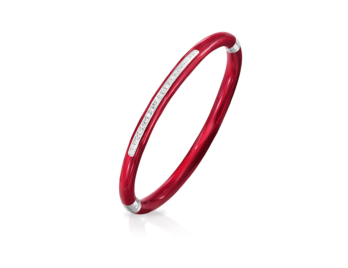 Soho enamel and round brilliant cut diamond bangle bracelet in silver.