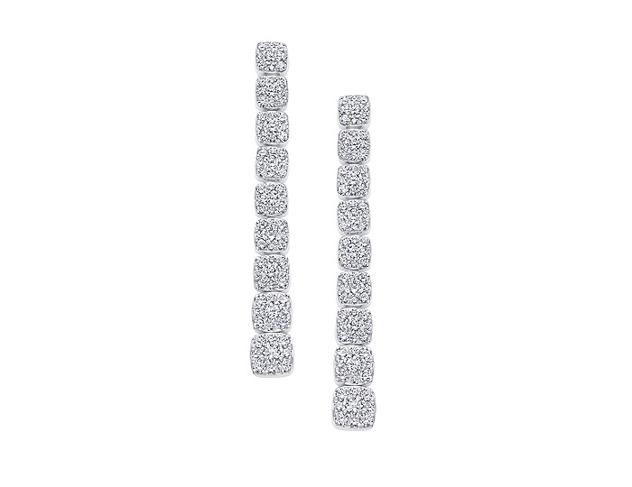 Sara Weinstock Adira collection round brilliant cut diamond cushion cluster drop earrings in 18k white gold.